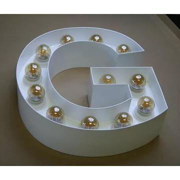 Wall Mounted kundenspezifische Werbung Marquee Buchstaben Leuchten mit LED-Glühbirne