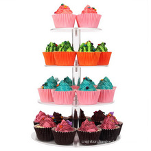 4 Tier Eiffel Tower Cake Display Holder Round Clear Acrylic Cupcake Stand
