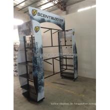 Outdoor-Produkt-Merchandising-Display 6-Rad-Metall-Kleidungsstück Rack Custom 4-Way Jagd Kleidung Gondel