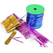 Блестящий металлический твист галстук Пэт упаковка подарков волшебная лента