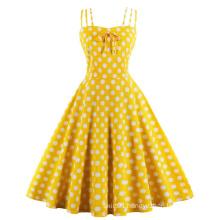 Vintage Summer Polka Dot Printed Party Dresses Cotton
