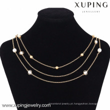 42813 Atacado Mulheres 18k Gold Pearl Artificial Jewellery Chain Necklace