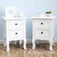 Bedroom Furniture White Drawers Wooden Bedside Table Nightstand