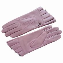 Lady Fashion Sheepskin Leather Ruffle Cuff Driving Gloves (YKY5072)