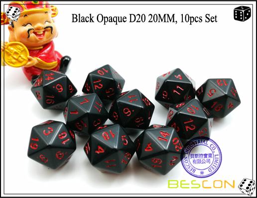 Black Opaque D20 20MM, 10pcs Set-1