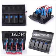 Marine Waterproof Rocker Switch Panel with Blue Light 4 Gang Combined Car Switc