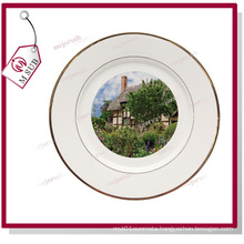 Cheap White Ceramic Round Sublimation Plates with Double Gold Rims