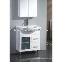 Australian Flooring Warm White Glossy MDF/HMR Bathroom vanity/cabinet free standing frost glass door vanity