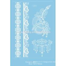 Nouveau design en dentelle blanche Tatouage temporaire Imperméable transférable Faux Flash Tatoo Autocollant Body Art Femmes Bijoux j001
