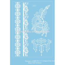 New White Lace Design Temporary Tattoo Waterproof Transferable Fake Flash Tatoo Sticker Body Art Women Jewelry j001