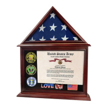 Personalized custom  solid wood  Wall Mounted Veteran Burial Flag Display Case Certificate Document Holder Frame