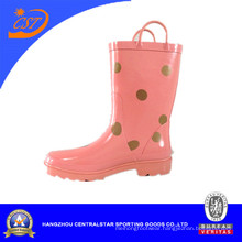 Pink Color Girls′ Rubber Rain Boots with Dots Kr027
