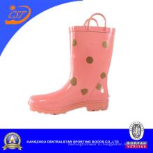 Розовый цвет Girls′ резиновые сапоги дождя с точками Kr027