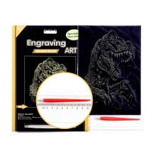 Alvorecer da arte gravura folha dourada dinossauros define