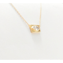 925 Sterling Silver Gold Plated Square Charm Eye Shape Pendant Necklace Ladies Girls