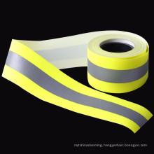 Cotton polyester proban fluorescent green fire retardant reflective fabric tape