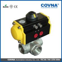Actionneur pneumatique 3pcs 3way T-type cf8m valve à bille pour usine de boissons