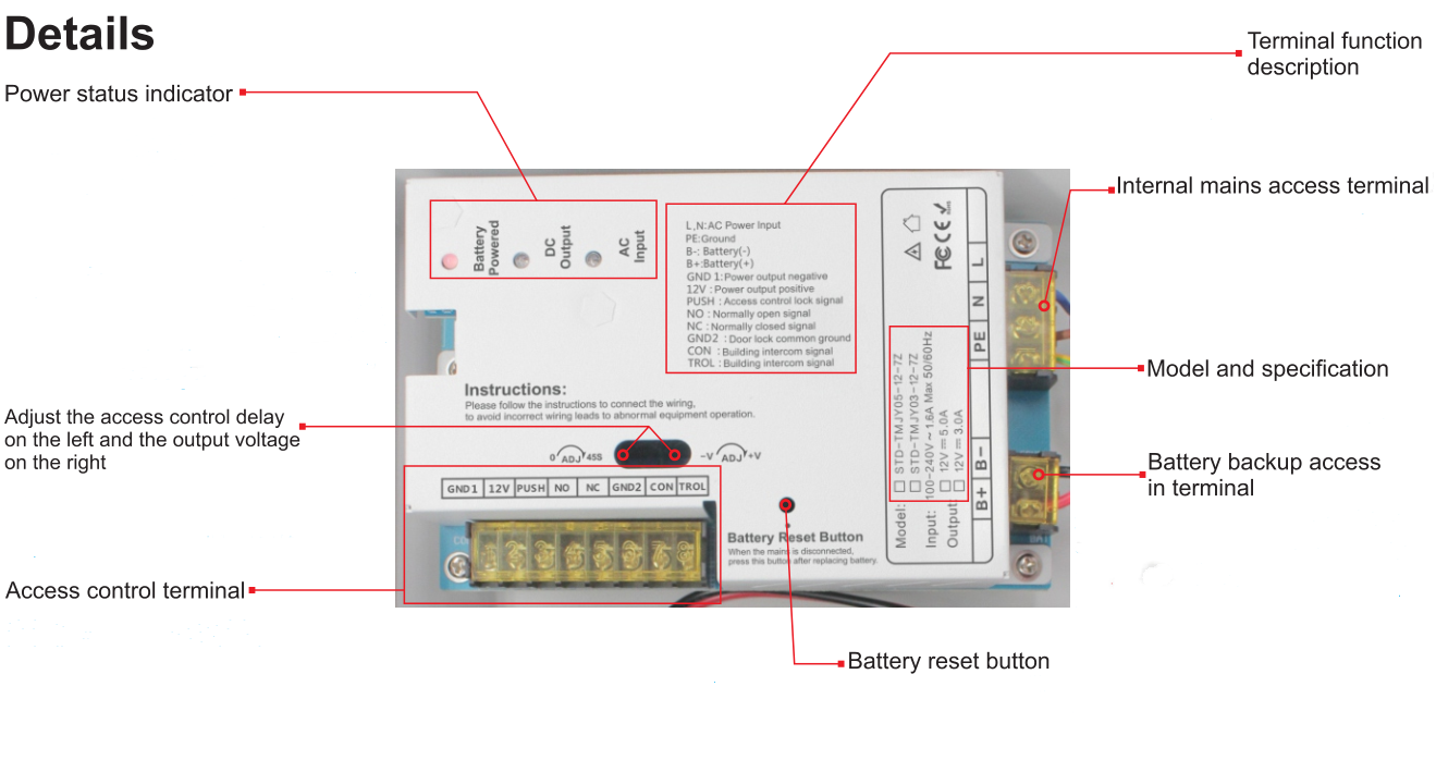access control power supply box