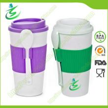 Coupe de café promotionnelle gratuite de 16 Oz BPA avec couvercle et cuillère