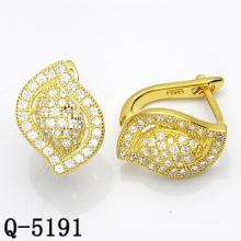 Forme de feuille Fashion argent bijoux deux tons boucles d'oreilles (Q-5159)