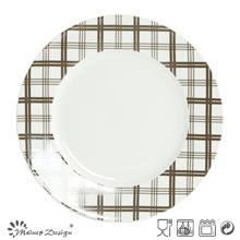 White Porcelain with Decal Checked Dinner Plate