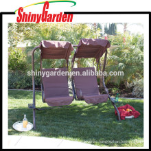 Two Person Armrest Steel Seat Padded Outdoor Garden Swing Sets with Canopy for Adults