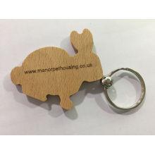 Förderung kundengebundener hölzerner Schlüsselring mit Laser-Logo