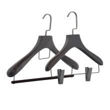 Hotel luxury wooden clothes hanger men pants/trouser hanger skirt hanger with clips
