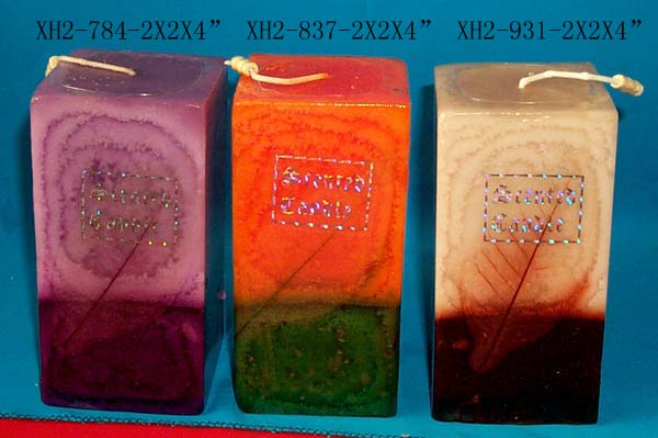 Rectangular double color craft candle