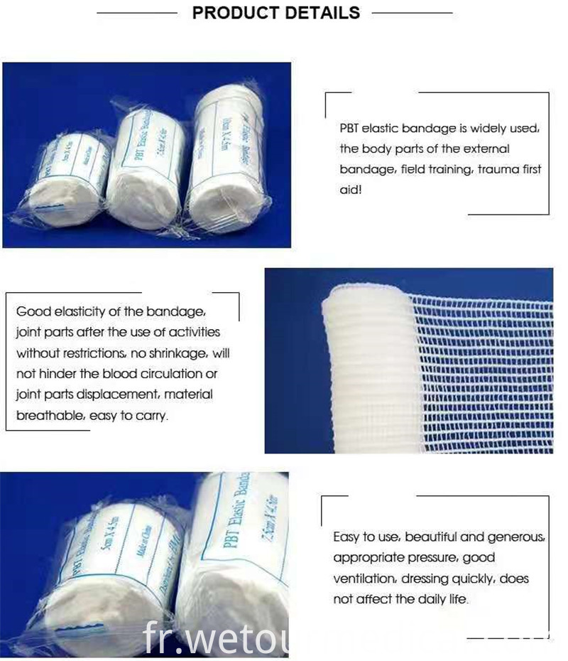 First Aid Medical Plain Elastic PBT Bandage