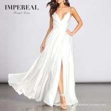 Pluning V Neckline Mermaid Slit Robes White Elegant Dresses Women Evening