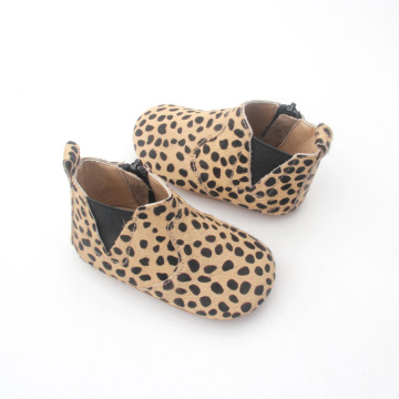 Leopard Leather Baby Shoes Girl Boy Baby Boots