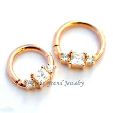 2015 nuevo oro plateado Zircon cúbico de falso tabique anillo