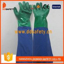Guante de látex verde y azul de manga larga de PVC de doble color (DHL511)
