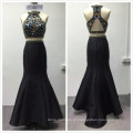 2018 instock designs luxo 2 pcs set pesado frisado sereia vestido de noite