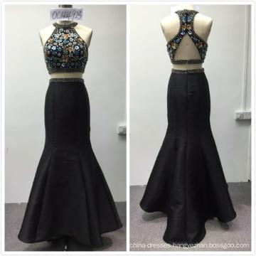2018 instock designs luxury 2pcs set heavy beaded mermaid evening dress