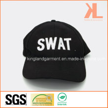 Cotton Drill Military Black Swat Embroidery Baseball Cap