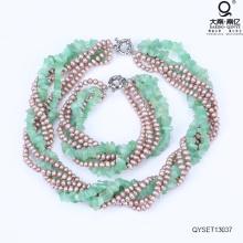Colar de pérolas e pulseira conjunto de joia da pérola