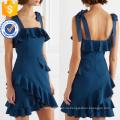Последняя Конструкция темно-2019 оборками спагетти ремень мини-платье Производство Оптовая продажа женской одежды (TA0320D)