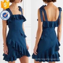 Latest Design 2019 Navy Ruffled Spaghetti Strap Mini Dress Manufacture Wholesale Fashion Women Apparel (TA0320D)