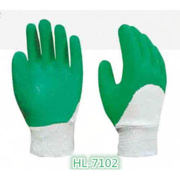 Baumwoll Jersey Latex Welle Crinkle Handschuh mit grüner Farbe