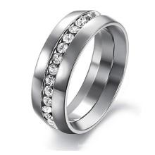 Bijoux fantaisie bijoux fantaisie anneaux de mariage pour femme 316L en acier inoxydable Channel-Set Eternity Ring