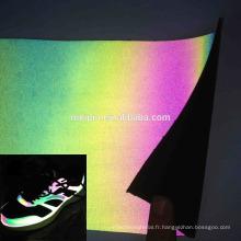 Cuir Synthétique Irisé Réfléchissant pour Chaussures
