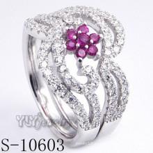 925 plata esterlina rosa zirconia mujeres anillo (s-10603)