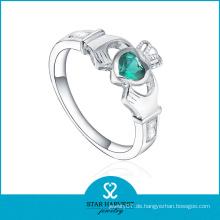 Smaragd CZ Crown Shaped Silber Schmuck Ring (SH-R0499)