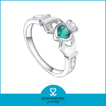 Emerald CZ Crown Shaped Silver Jewelry Ring (SH-R0499)