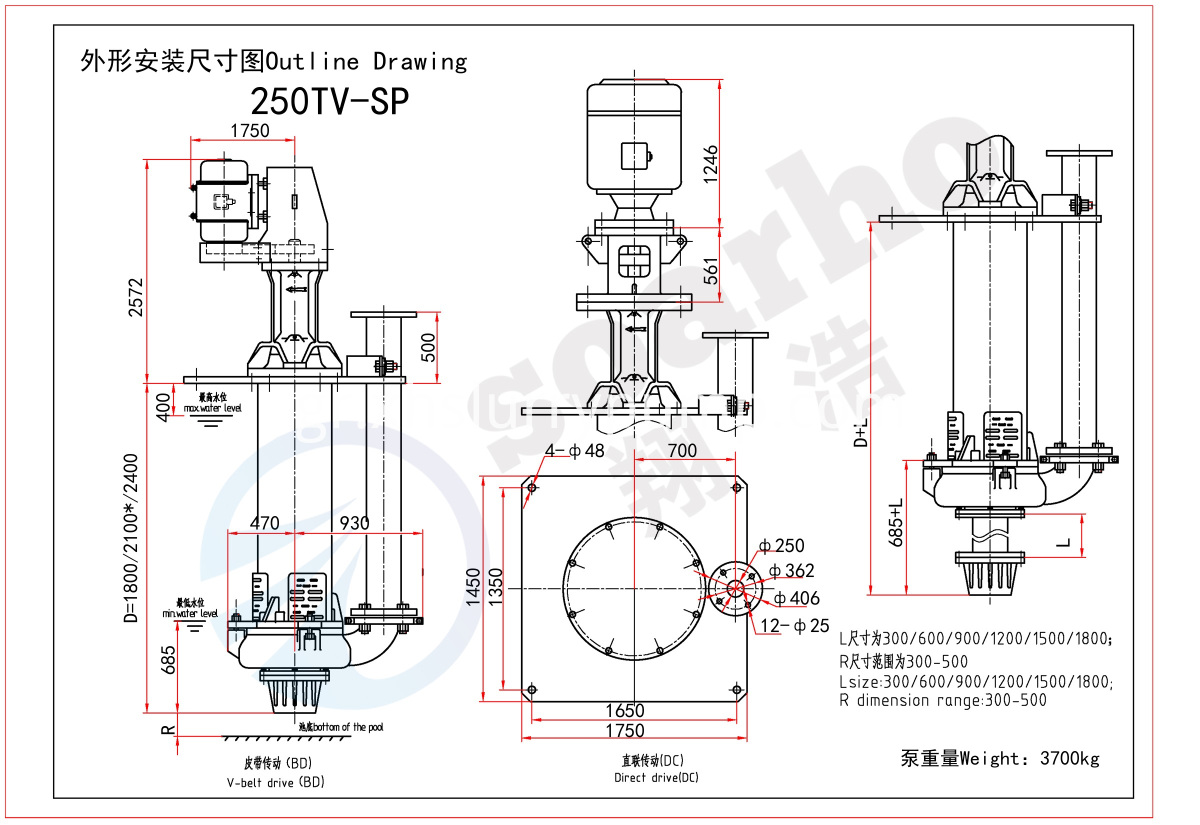 250mm Size Sump Slurry Pump