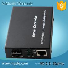 Certificação CE / FCC / ROHS 1000M Conversor de Mídia GIGA SFP, Porta RJ45 e Porta SFP