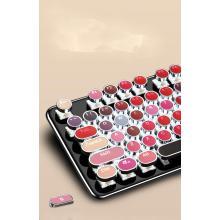 Teclado y mouse inalámbricos coloridos rojos retro y combos