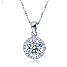 Round Clear Solid Silver CZ Crystal Stone Pendants Necklace
